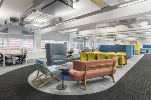 Pastel coloured furniture in innovative Manchester office