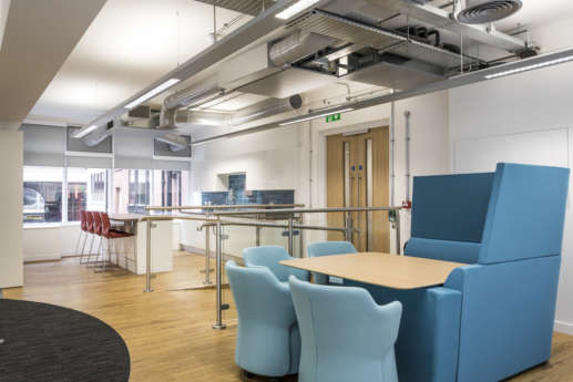 Blue meeting pod in Manchester office fit out