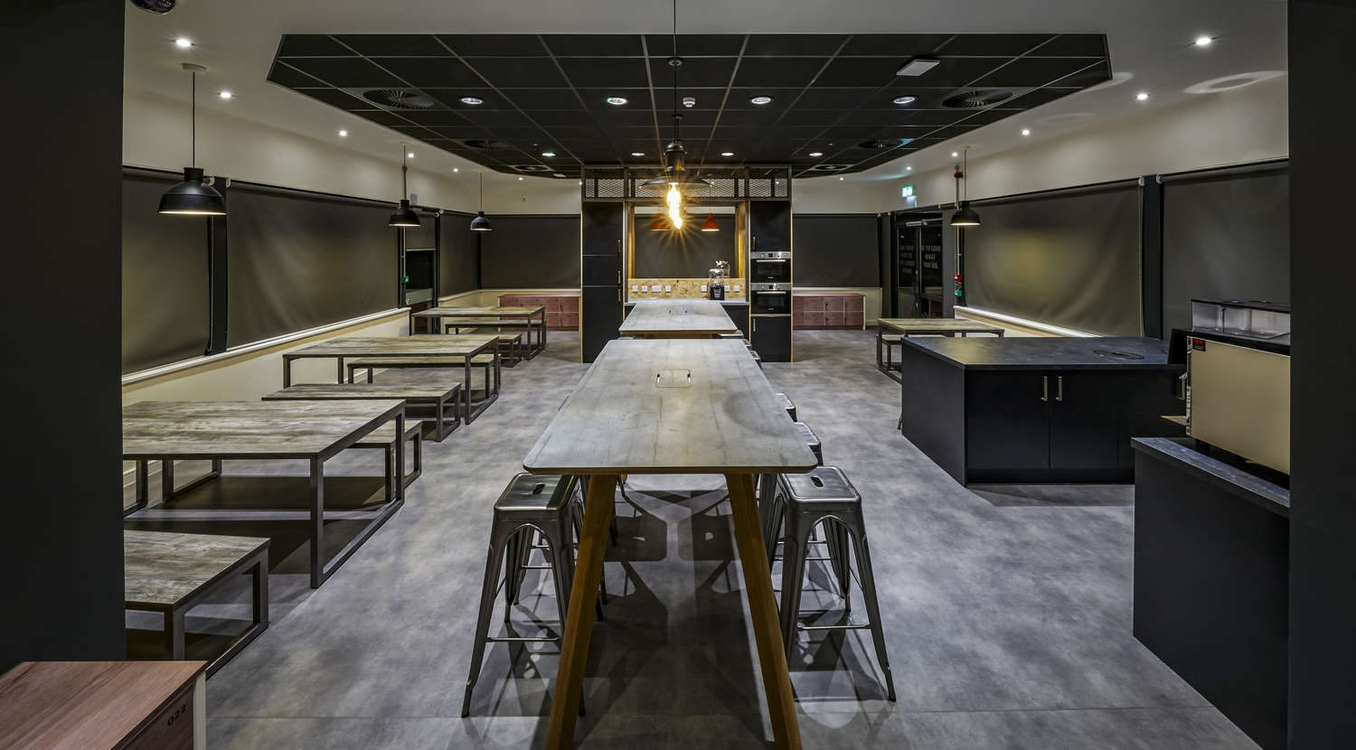 Office fit out with industrial style cafeteria