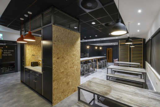 Industrial themed office kitchen