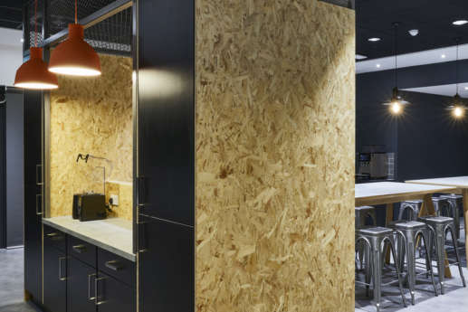Kitchen facilities with recycled chipboard