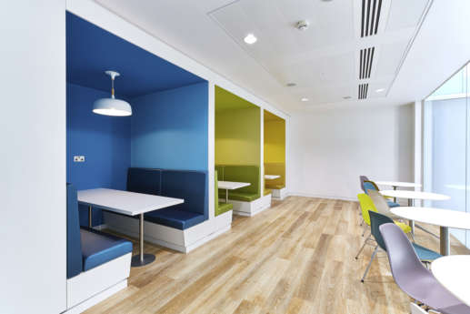 Colourful booth seating and breakout spaces