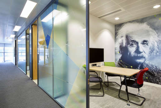 Office meeting room with Einstein wall print