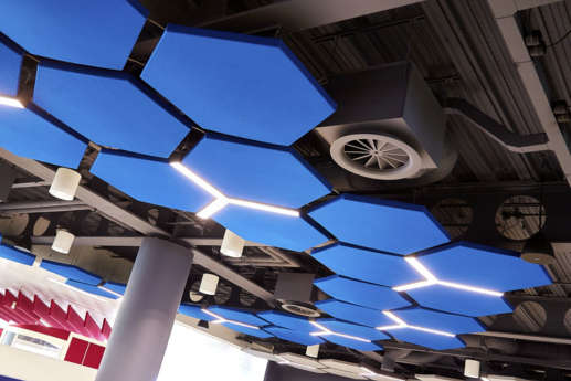 Blue hexagonal ceiling panels