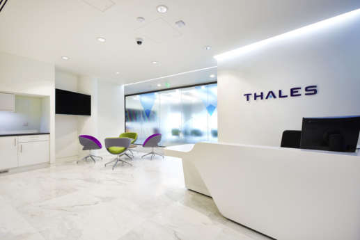 Thales office reception in Cambridge