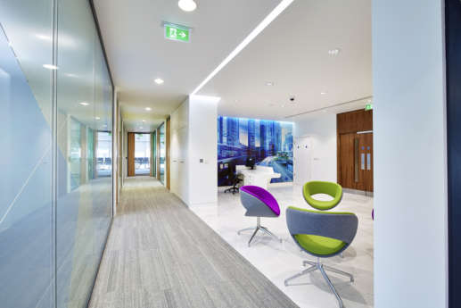 Side view of Thales office reception in Cambridge