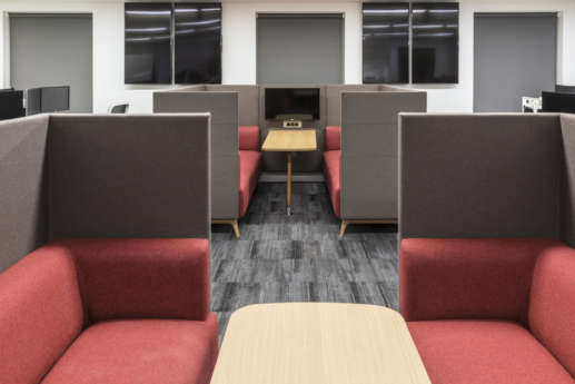 Semi-private meeting pods with computers