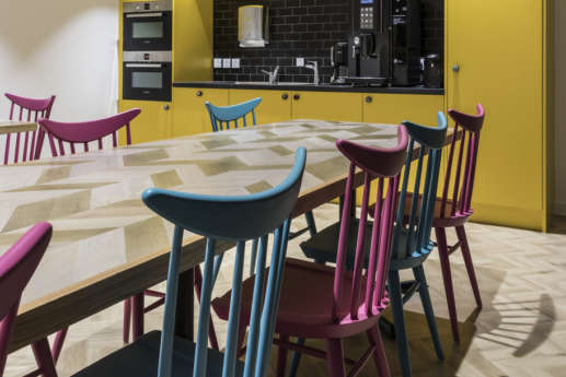 Colourful communal office kitchen table