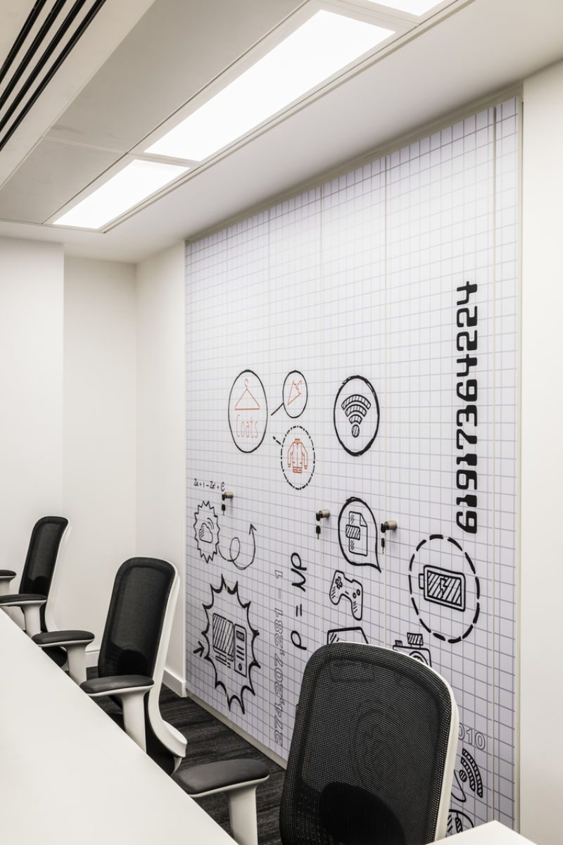 Technology themed meeting room walls