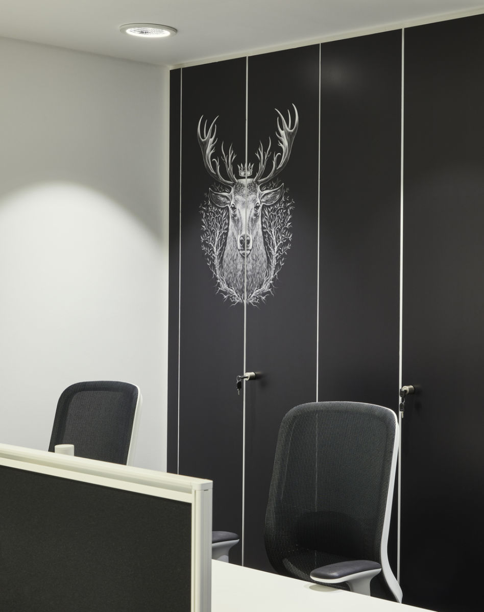 Moose wall print on office storage cupboards