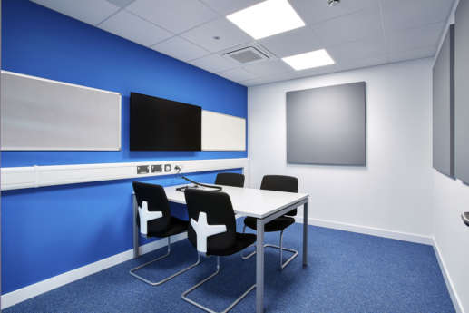Colourful meeting rooms at Bristol University