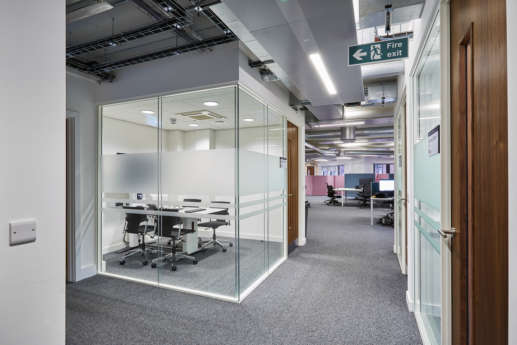 Glass meeting room at Bristol University