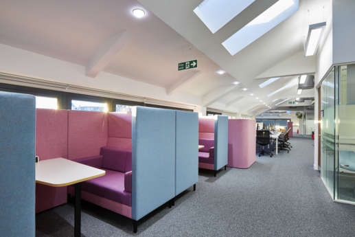 Lightly coloured meeting pods at Bristol University