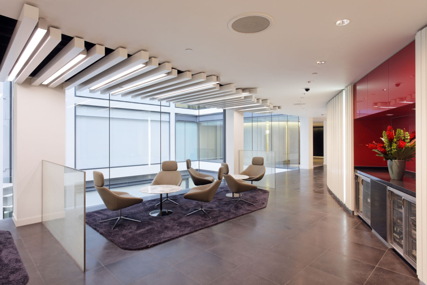 Seating in designer office reception area