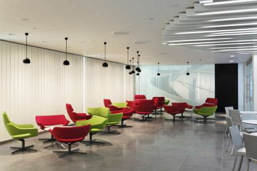 Staff breakout area with colourful seating