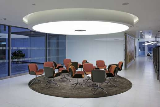 Feature seating and waiting area in modern office