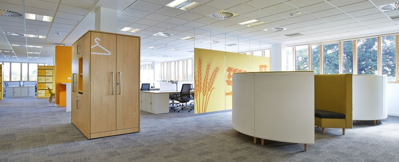 Hidden curved booths in office