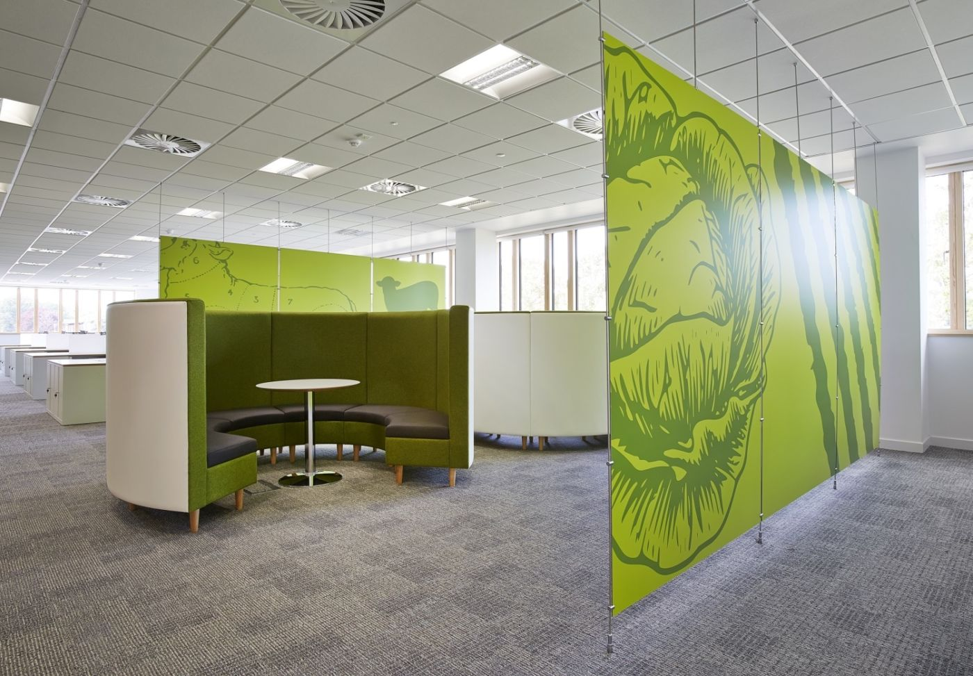 Bright green curved booths
