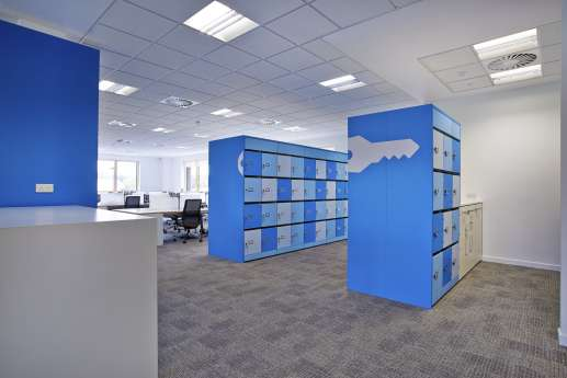Bright blue lockers in the office