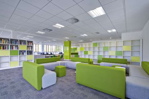 Colourful staff breakout area