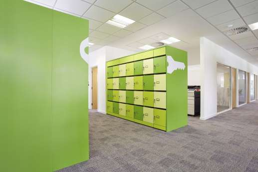 Bright green staff lockers