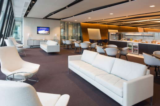 White sofas in modern office fit out