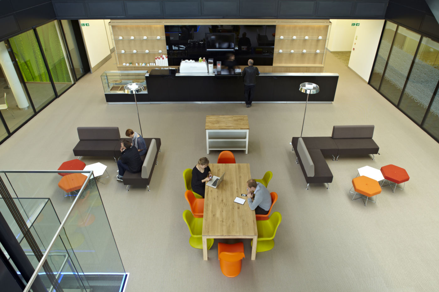 Overhead view of staff working in modern office design