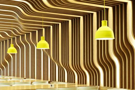 Feature wall with wood paneling in modern office fit out