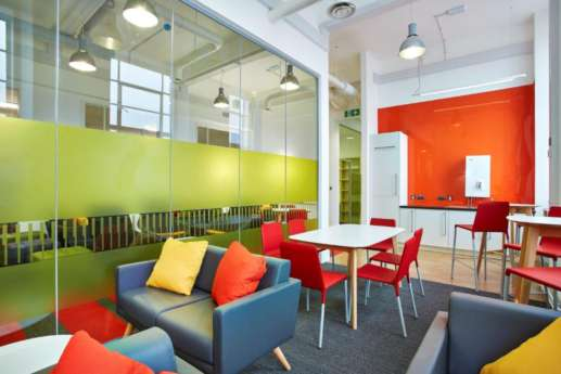 Bright seating in office design