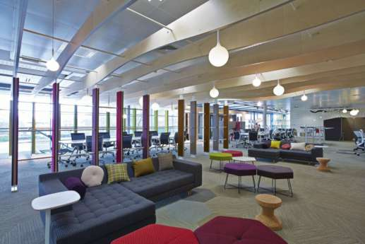 Corner sofas in large office fit out