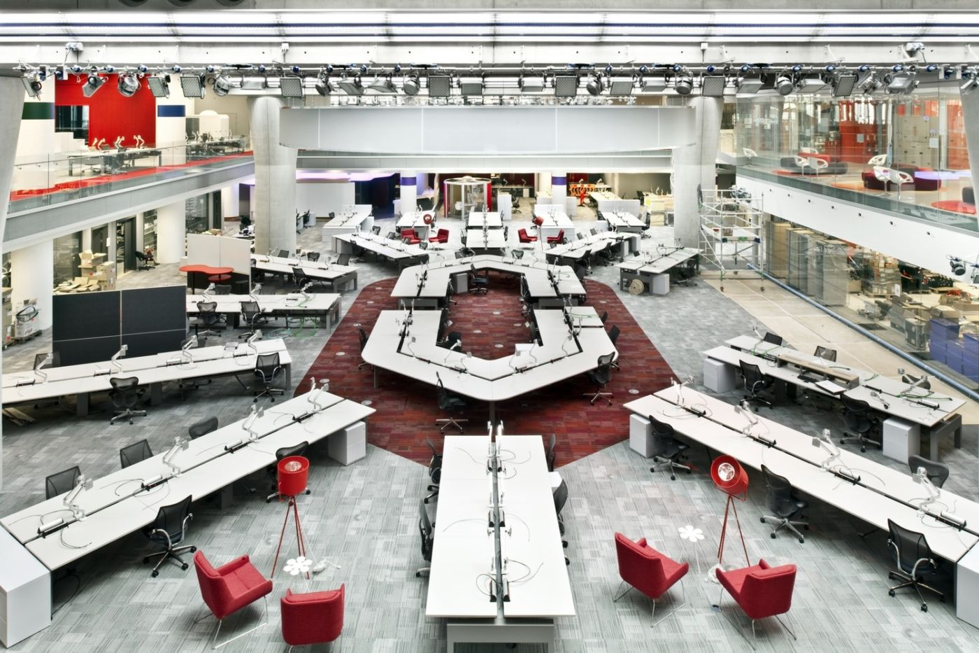 Overhead view of symmetrical workstations in modern office fit out