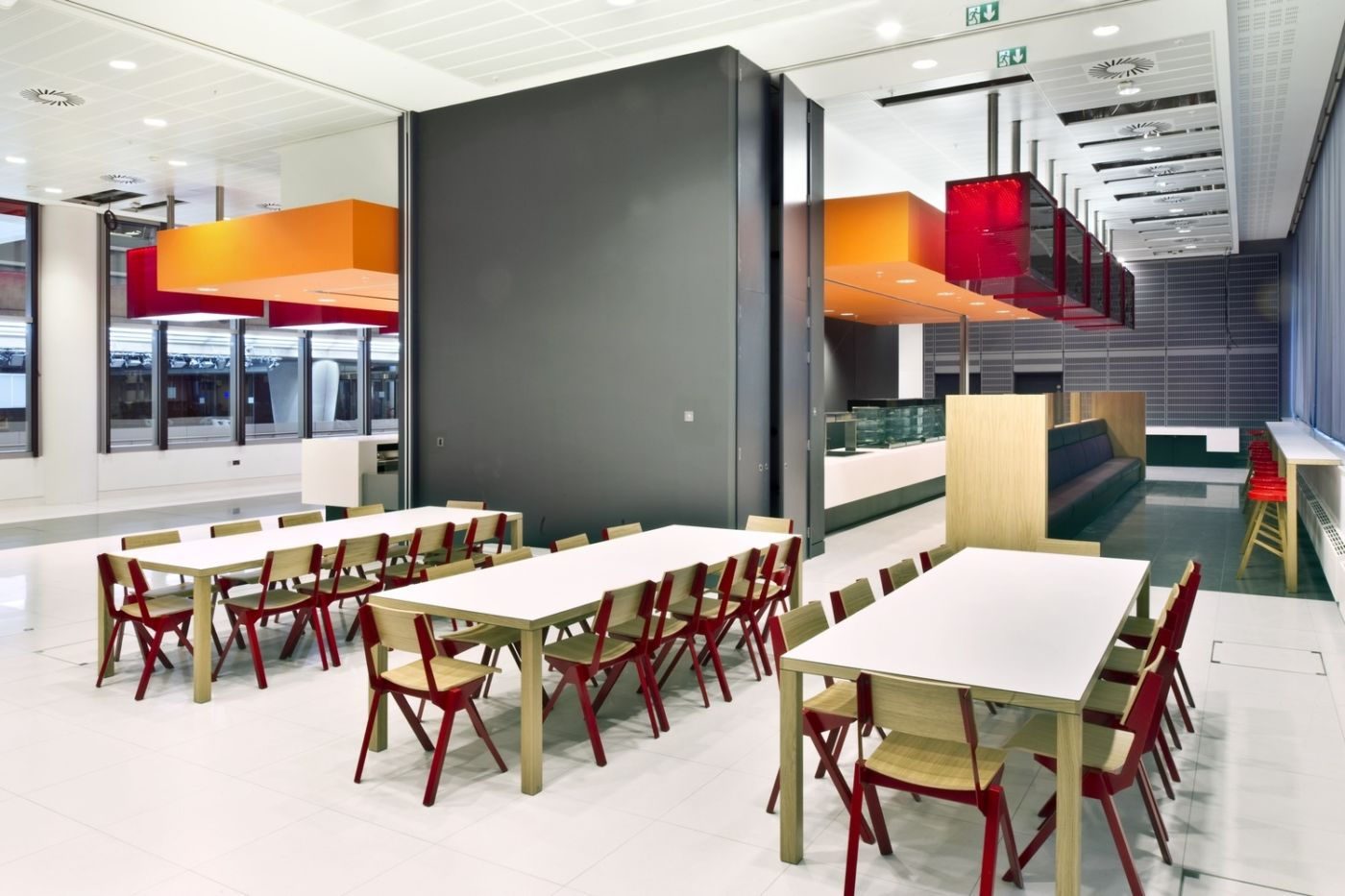 Staff seating in modern office cafeteria