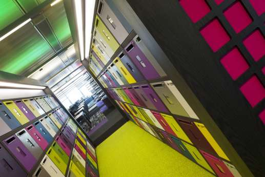 colourful storage lockers in large office