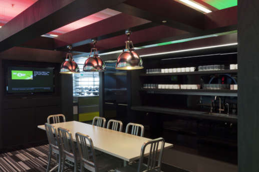 communal office dining area with feature light fittings