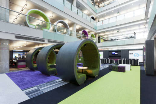 office mezzanine with funky meeting pods