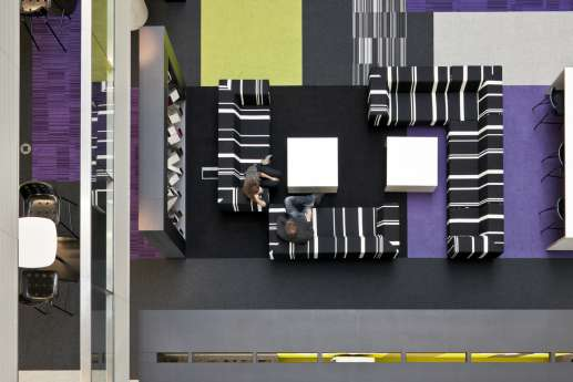 overhead view of relaxed stripey office sofas