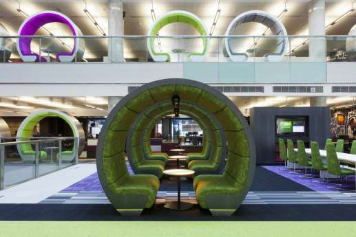 view of circular meeting pods in an office fit out