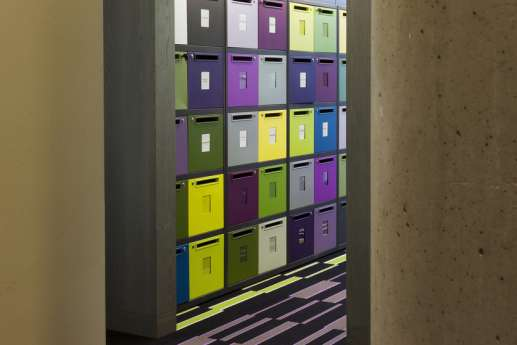 colourful office storage boxes
