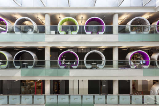 meeting pods across different levels of office