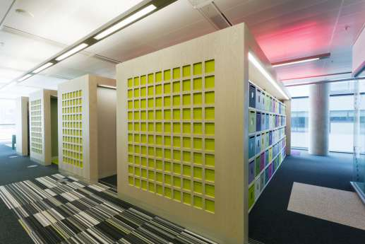 colourful office design of storage boxes