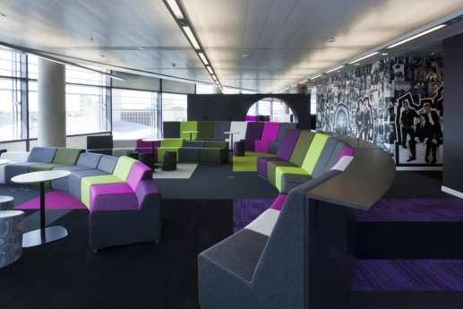 Sofas in colourful office design