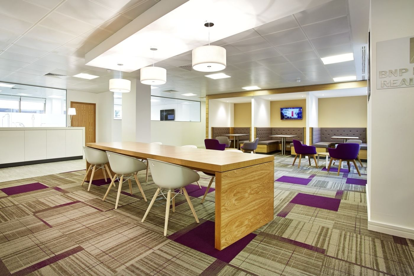 Quirky carpet in informal meeting space