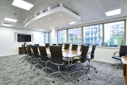 Smart meeting room with large windows