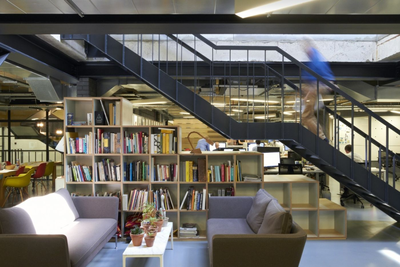 Stairwell and library in funky office fit out