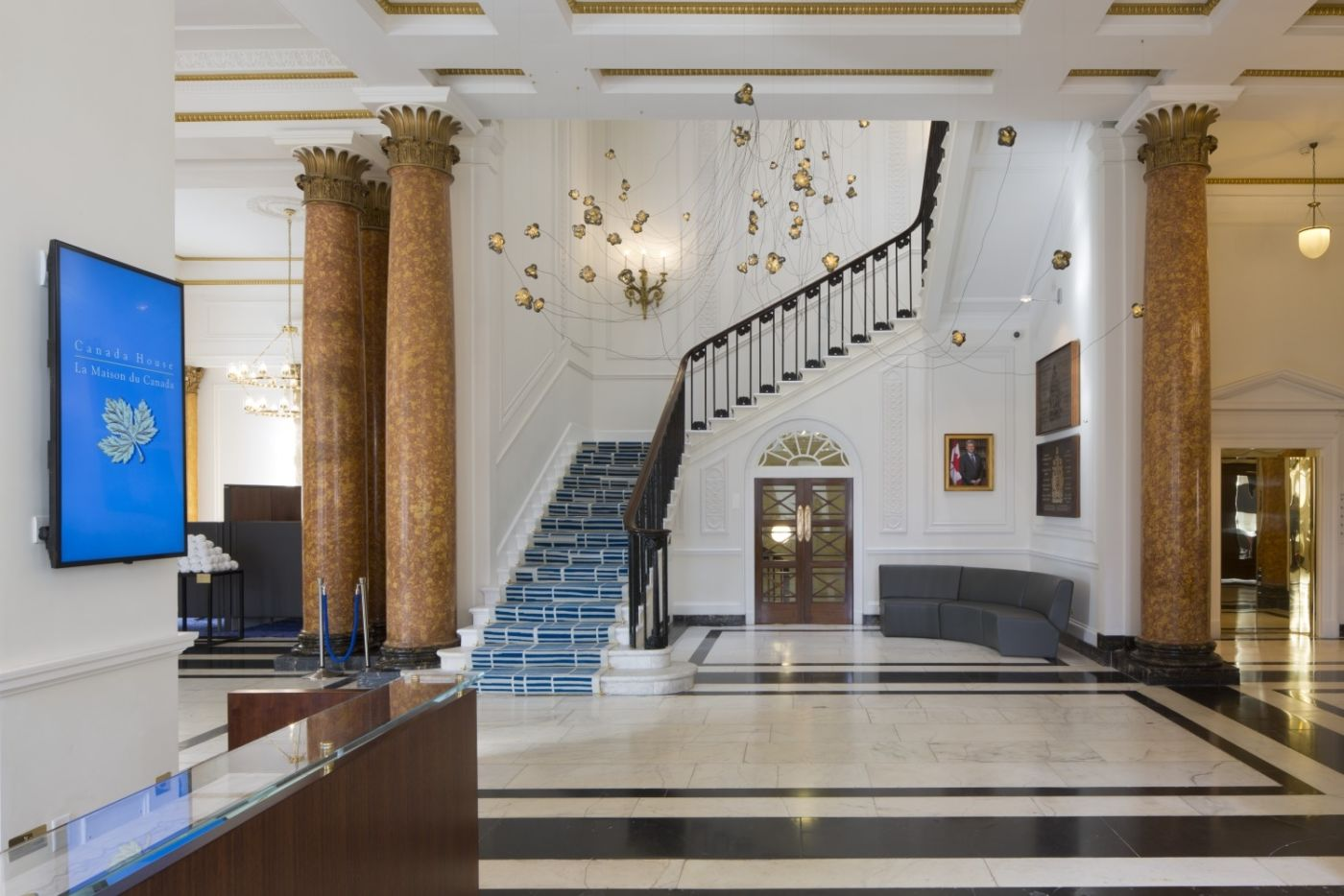 Grand staircase in office reception