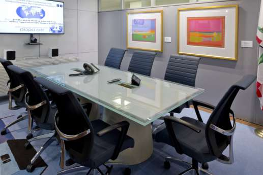 Meeting room with abstract pictures
