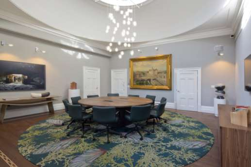 Circular table in formal meeting room