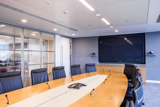 Smart office meeting room with large television