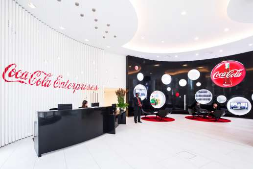 Modern reception design with large logos