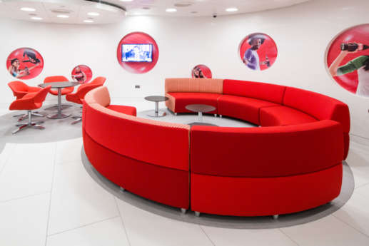 Red circular sofa design